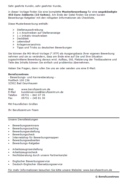 Bewerbung - 450 Euro - Job - ungekündigt (Berufserfahrung)
