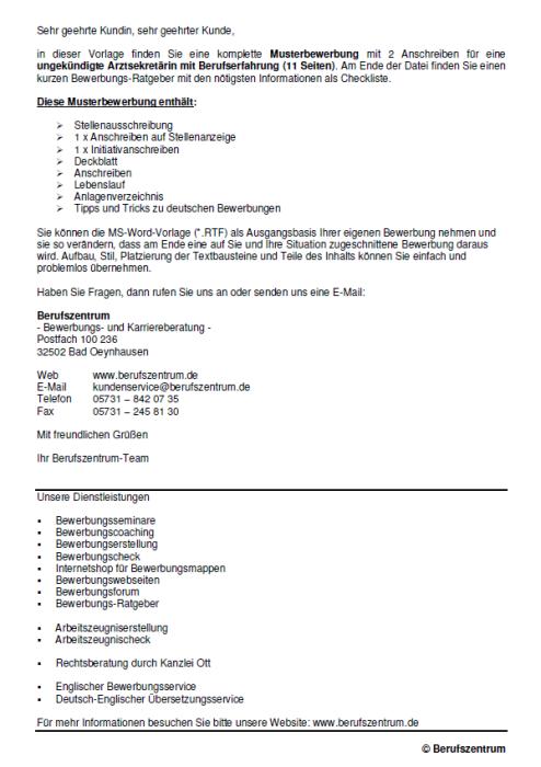 Bewerbung - Arztsekretärin - ungekündigt (Berufserfahrung)
