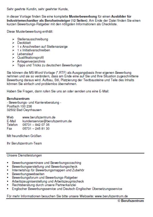 Bewerbung - Ausbilder für Industriemechaniker (Berufseinsteiger)