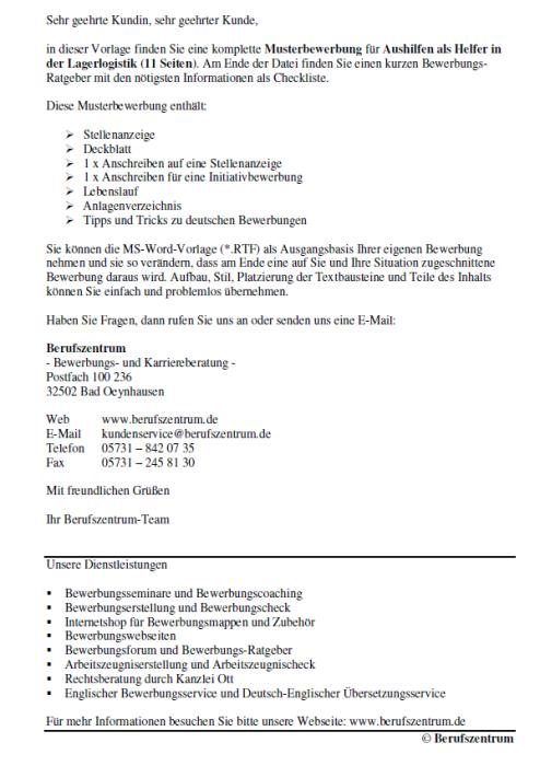 Bewerbung - Helfer in der Lagerlogistik (Aushilfe)