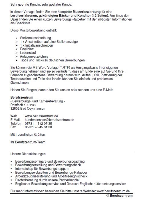 Bewerbung - Bäcker und Konditor - gekündigt (Berufserfahrung)