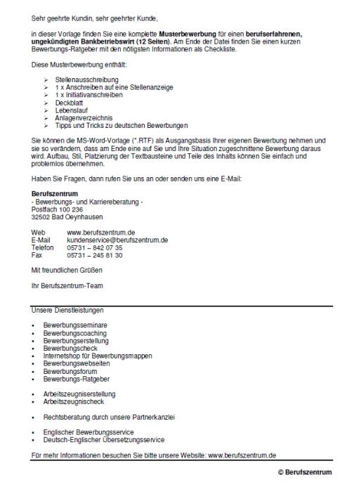 Bewerbung - Bankbetriebswirt - ungekündigt (Berufserfahrung)