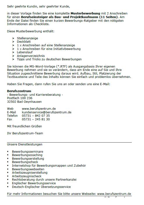 Bewerbung - Bau - und Projektkaufmann (Berufseinsteiger)