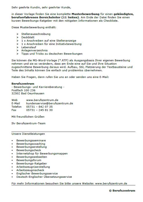Bewerbung - Bereichsleiter, gekündigt (Berufserfahrung)