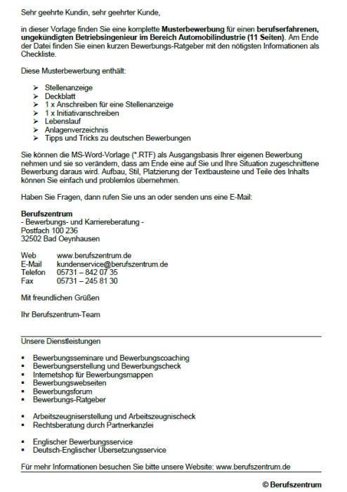 Bewerbung - Betriebsingenieur, ungekündigt (Berufserfahrung)