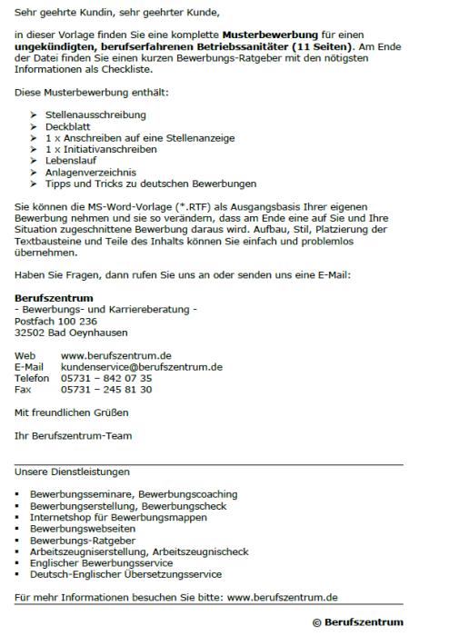 Bewerbung - Betriebssanitäter, ungekündigt  (Berufserfahrung)