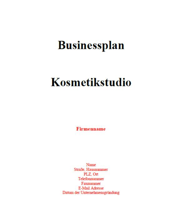 Businessplan - Kosmetikstudio