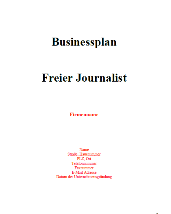 Businessplan - Freier Journalist