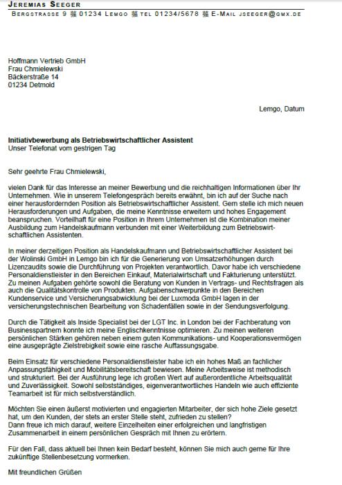 Bewerbung - Betriebswirtschaftliche Assistentin, ungekündigt (Berufserfahrung)