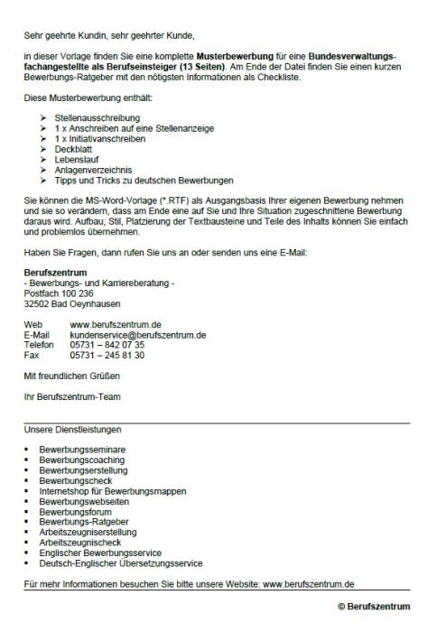 Bewerbung - Bundesverwaltungsfachangestellter (Berufseinsteiger)