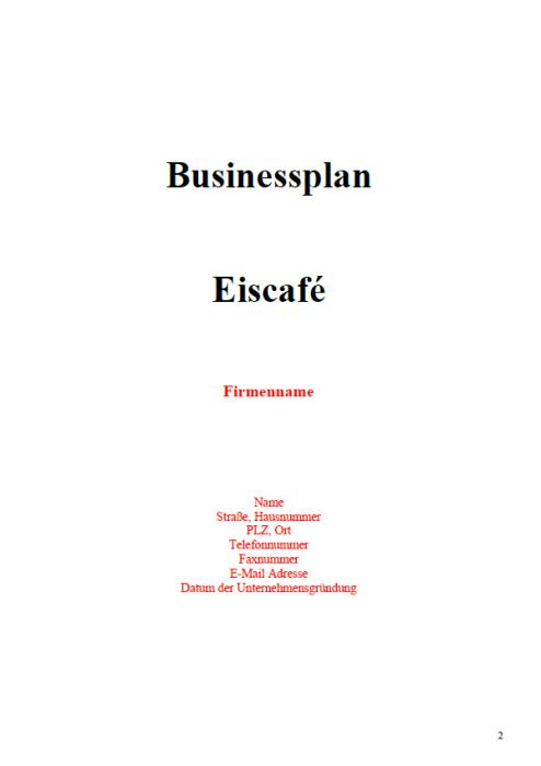 Businessplan - Eiscafe