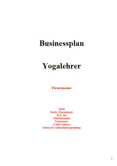 Businessplan - Yogalehrer