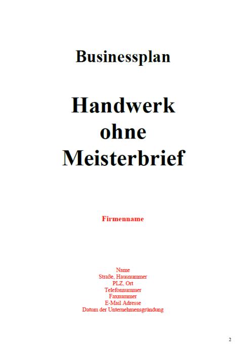 Businessplan - Handwerk ohne Meisterbrief