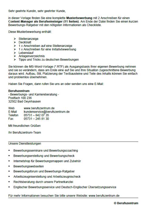 Bewerbung - Content-Manager (Berufseinsteiger)