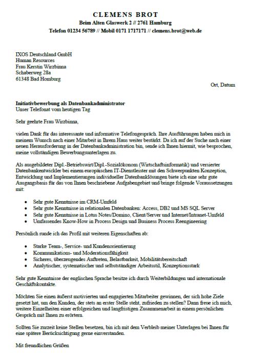 Bewerbung - Datenbankadministrator, gekündigt (Berufserfahrung)