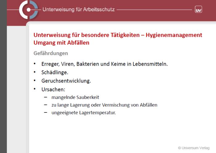 Unterweisungspräsentation - Hygienemanagement: Umgang mit Abfällen