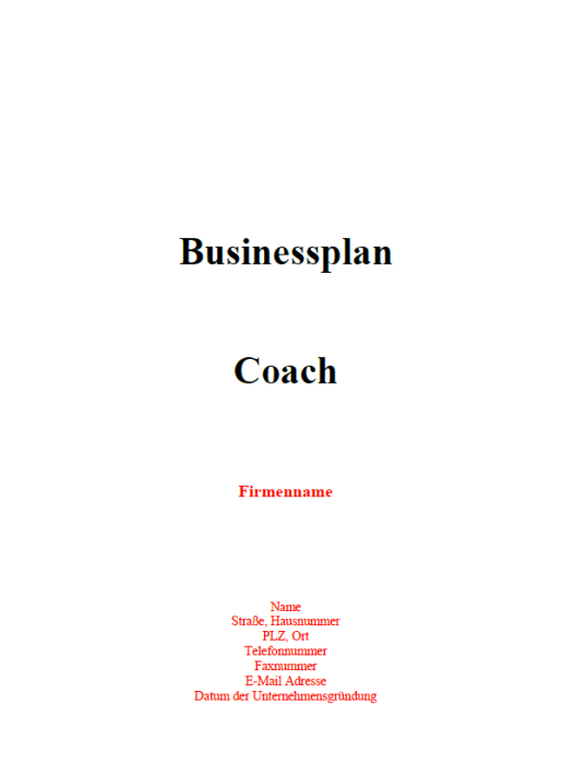 Businessplan - Coach