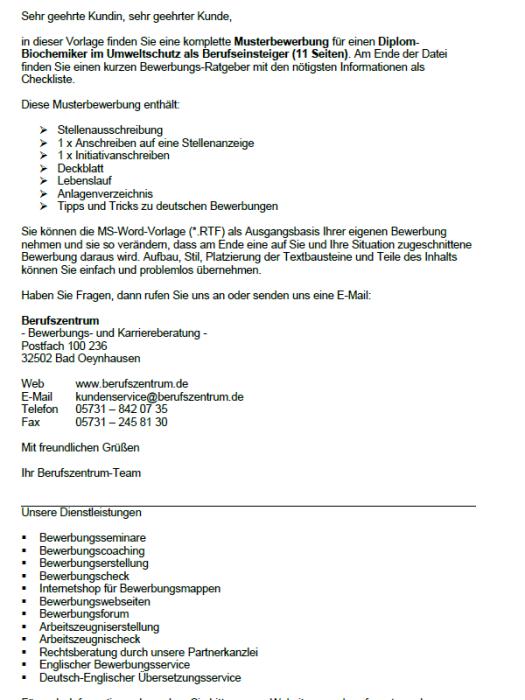 Bewerbung - Diplom - Biochemiker im Umweltschutz (Berufseinsteiger)