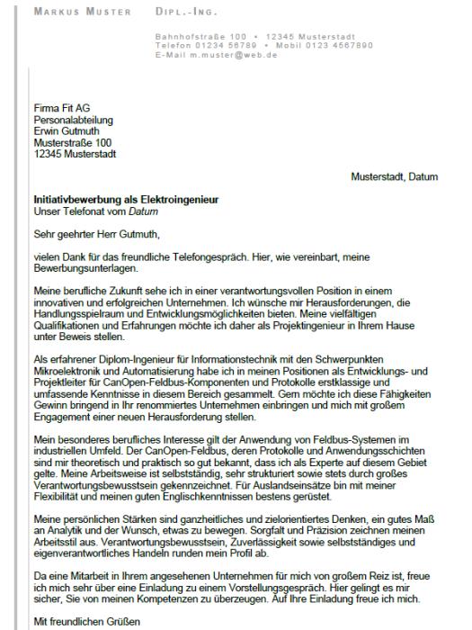 Bewerbung - Diplom - Ingenieur - Elektrotechniker, ungekündigt (Berufserfahrung)