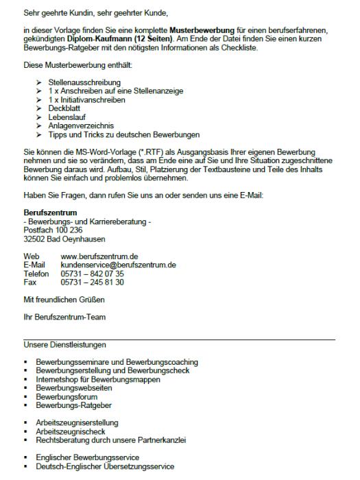 Bewerbung - Diplom - Kaufmann, gekündigt (Berufserfahrung)