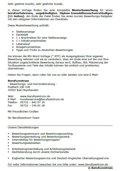 Bewerbung - Diplom - Immobiliensachverständiger, ungekündigt (Berufserfahrung)