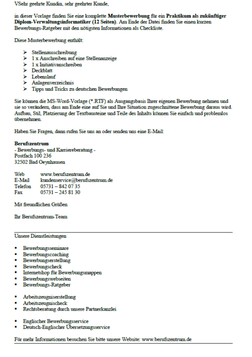 Bewerbung - Diplom - Verwaltungsinformatiker (Praktikum)