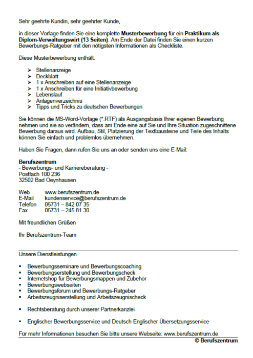 Bewerbung - Diplom - Verwaltungswirt (Praktikum)