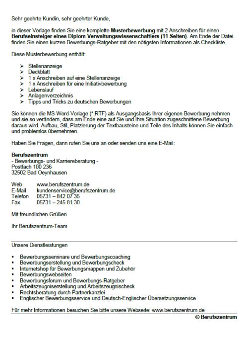 Bewerbung - Diplom - Verwaltungswissenschaftler (Berufseinsteiger)