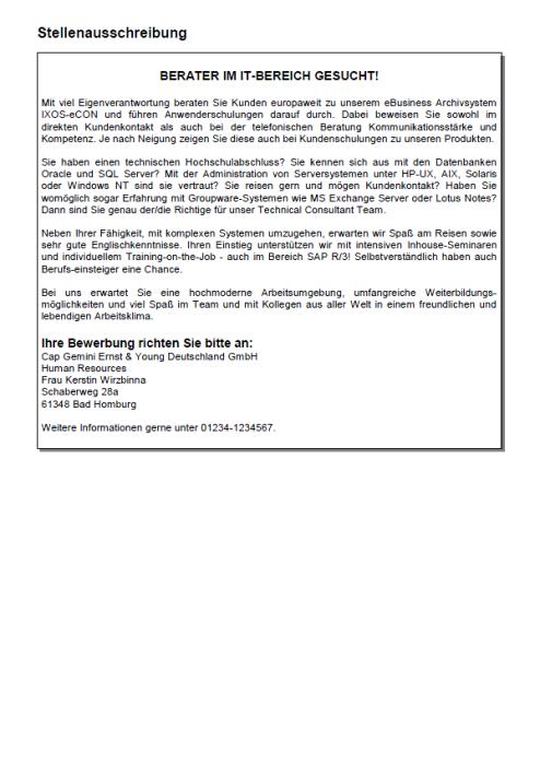 Bewerbung - Wirtschaftsinformatiker - IT-Berater, ungekündigt (Berufserfahrung)