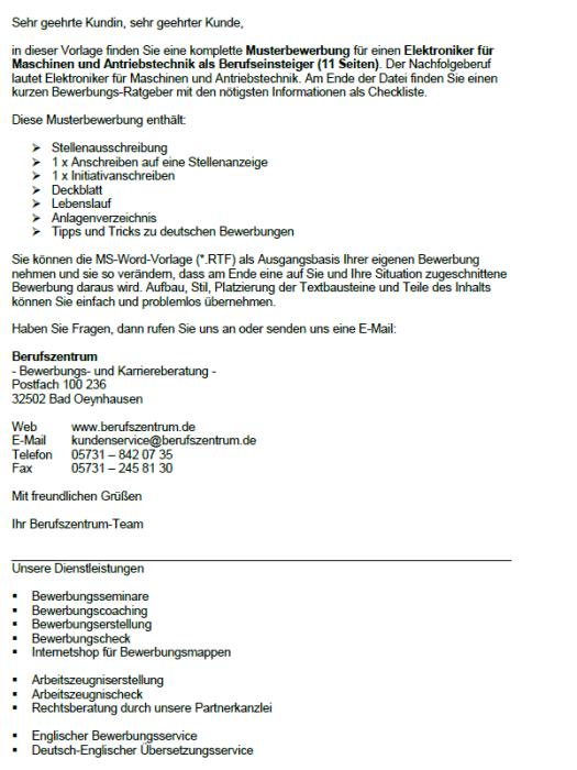 Bewerbung - Elektroniker für Maschinen und Antriebstechnik (Berufseinsteiger)