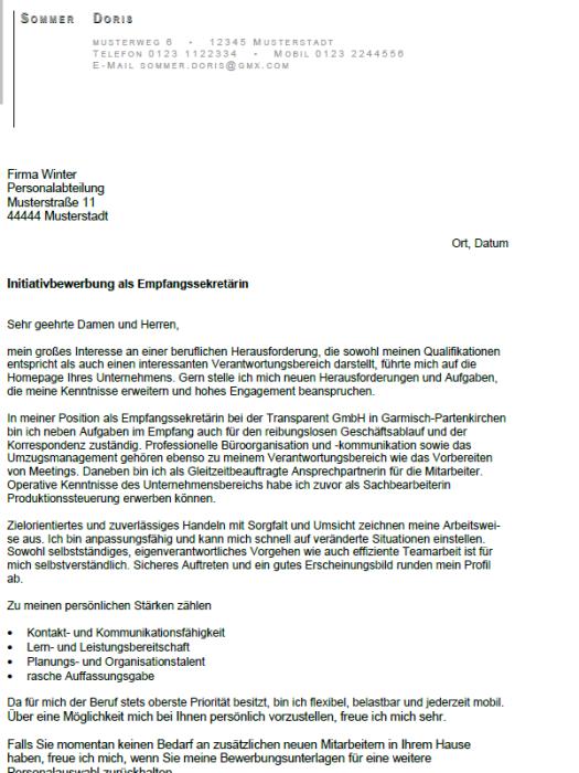 Bewerbung - Empfangssekretärin, gekündigt (Berufserfahrung)