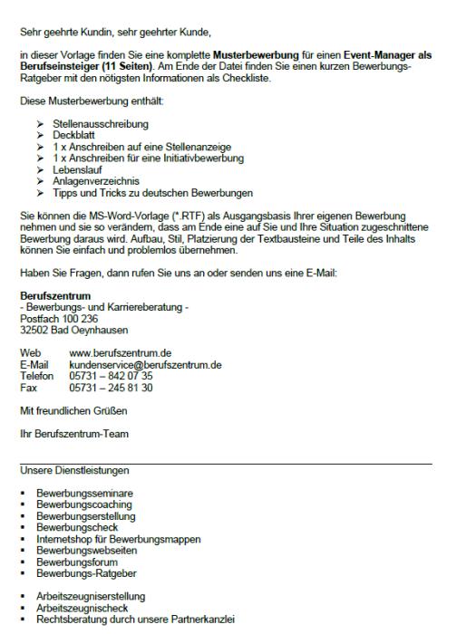 Bewerbung - Event-Manager (Berufseinsteiger)
