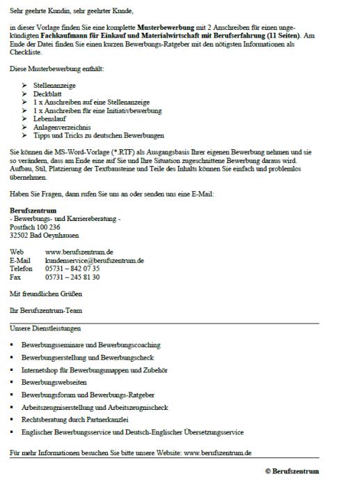 Bewerbung - Fachkaufmann für Einkauf und Materialwirtschaft, ungekündigt (Berufserfahrung)