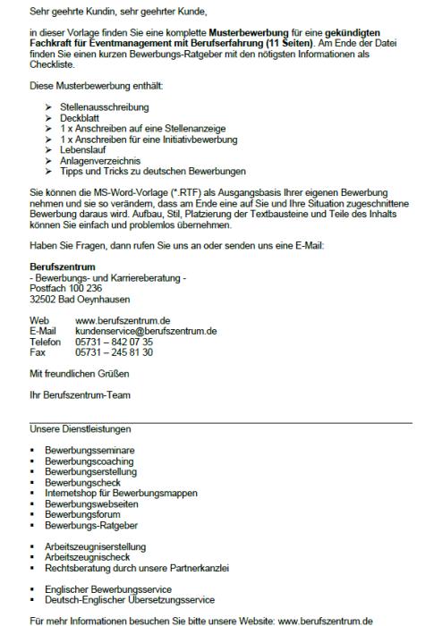Bewerbung - Fachkraft für Eventmanagement, gekündigt (Berufserfahrung)