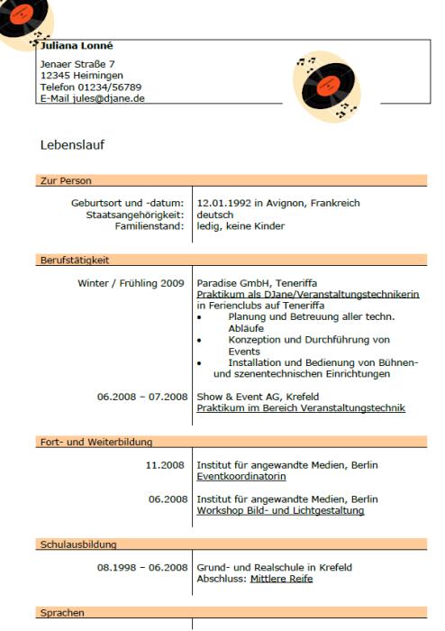 Bewerbung - Fachkraft für Eventmanagement IHK (Praktikum)