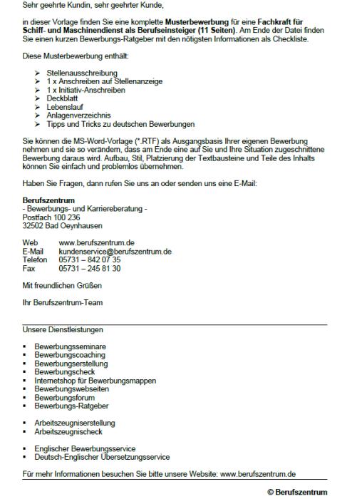 Bewerbung - Fachkraft für Schiff- und Maschinendienst (Berufseinsteiger)