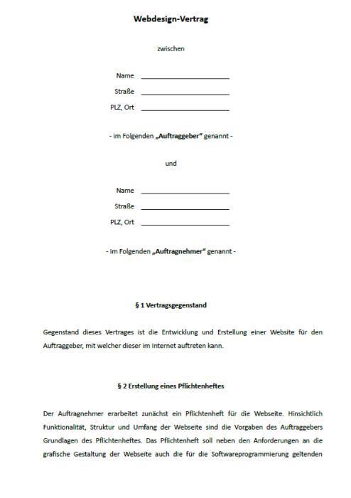 Webdesigner-Vertragspaket
