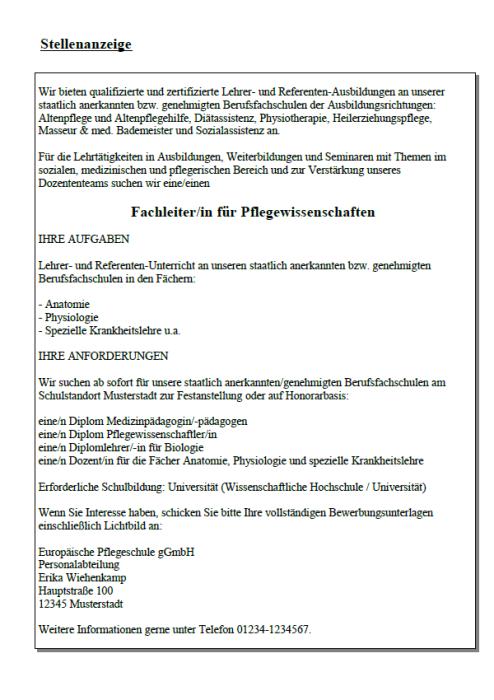 Bewerbung - Fachleiter - Pflegeberufe (Berufseinsteiger)