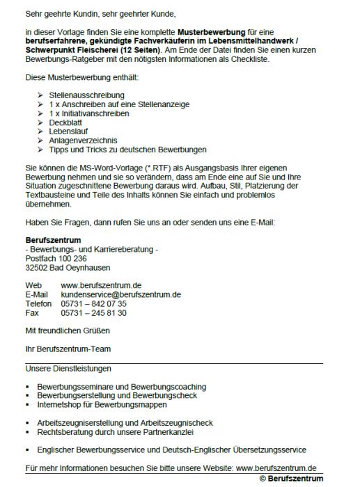 Bewerbung - Fachverkäufer Lebensmittelhandwerk, gekündigt (Berufserfahrung)