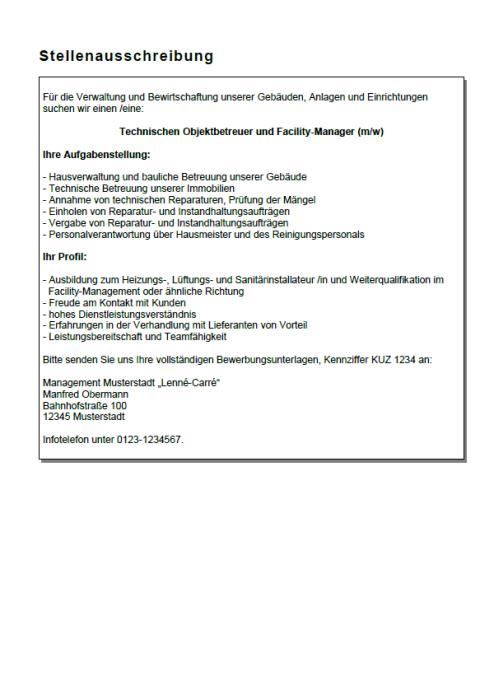 Bewerbung - Fachwirt Facility-Manager, ungekündigt (Berufserfahrung)