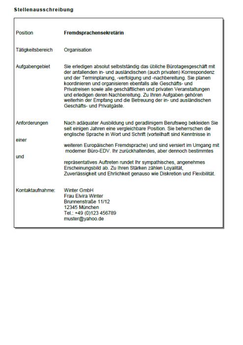 Bewerbung - Fremdsprachensekretärin, gekündigt (Berufserfahrung)