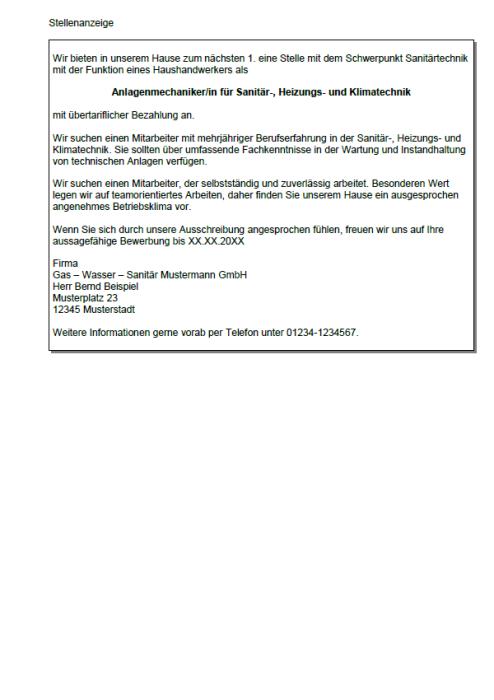 Bewerbung - Anlagenmechaniker für Sanitär-, Heizungs- und Klimatechnik, gekündigt  (Berufserfahrung)