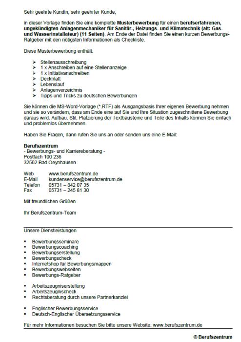 Bewerbung - Anlagenmechaniker für Sanitär-, Heizungs- und Klimatechnik, ungekündigt  (Berufserfahrung)