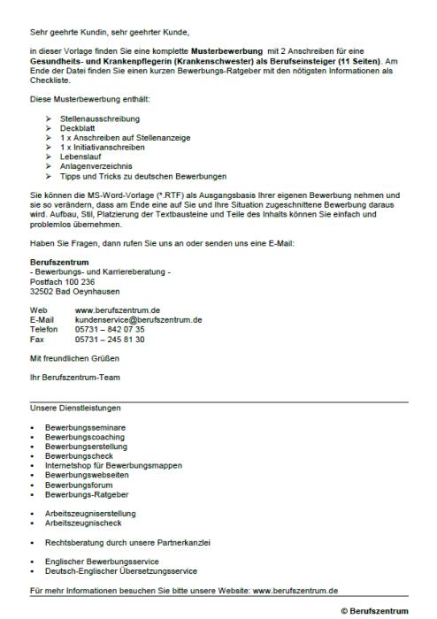 Bewerbung - Gesundheitspfleger und Krankenpfleger (Krankenschwester) (Berufseinsteiger)