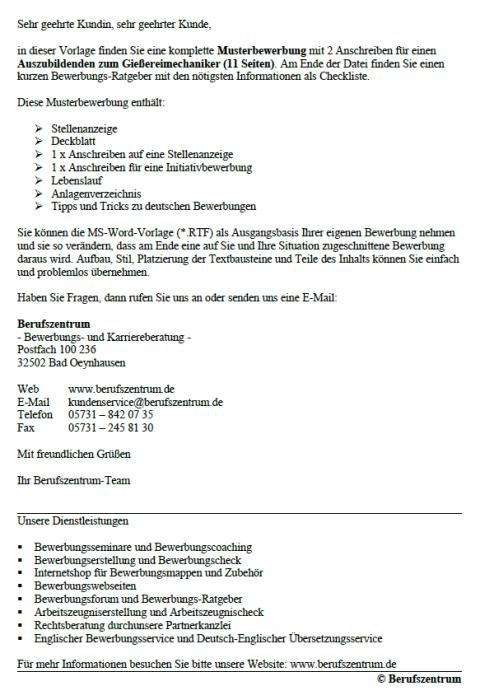 Bewerbung - Gießereimechaniker (Ausbildung)