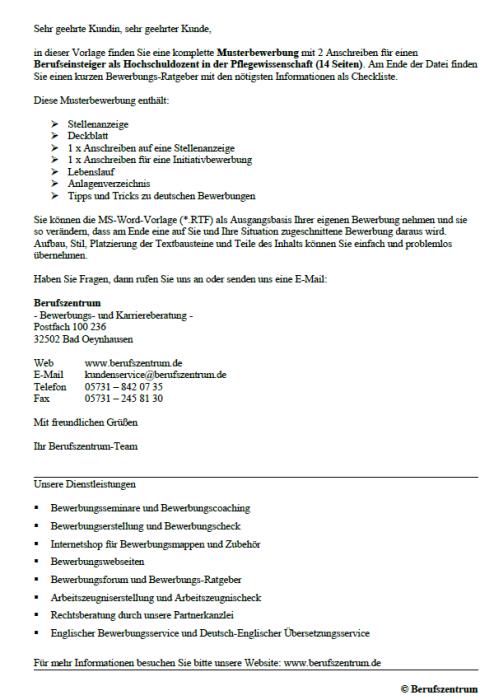 Bewerbung - Hochschuldozent in der Pflegewissenschaft (Berufseinsteiger)