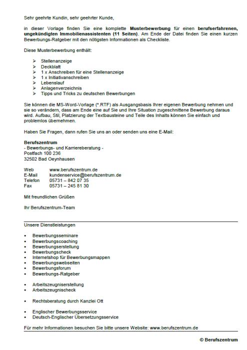 Bewerbung - Immobilienassistent, ungekündigt (Berufserfahrung)