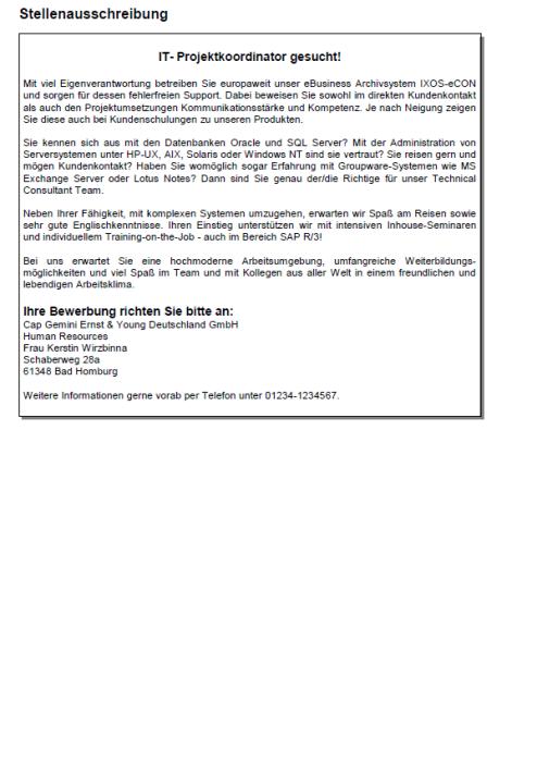 Bewerbung - IT-Projektkoordinator, ungekündigt (Berufserfahrung)