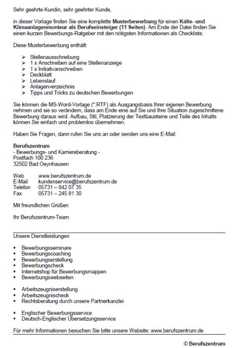 Bewerbung - Kälte- und Klimaanlagenmonteur (Berufseinsteiger)
