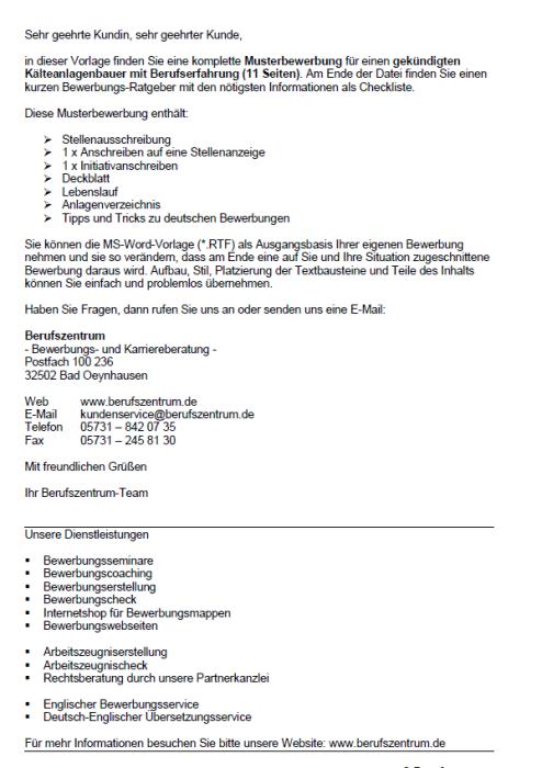Bewerbung - Kälteanlagenbauer, gekündigt (Berufserfahrung)